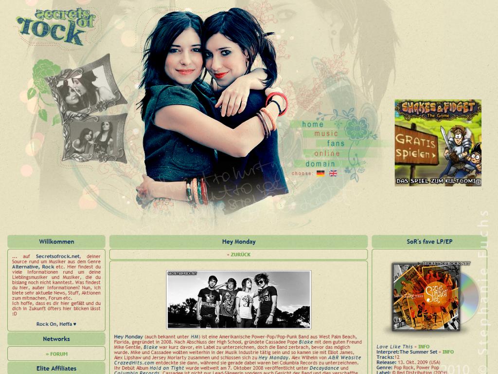 screenshot als musik fanseite