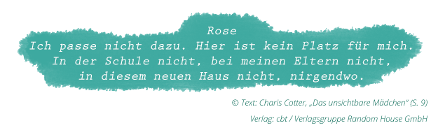 """Charis Cotter: """"Das unsichtbare Mädchen"""" (Zitat Seite 9)"""