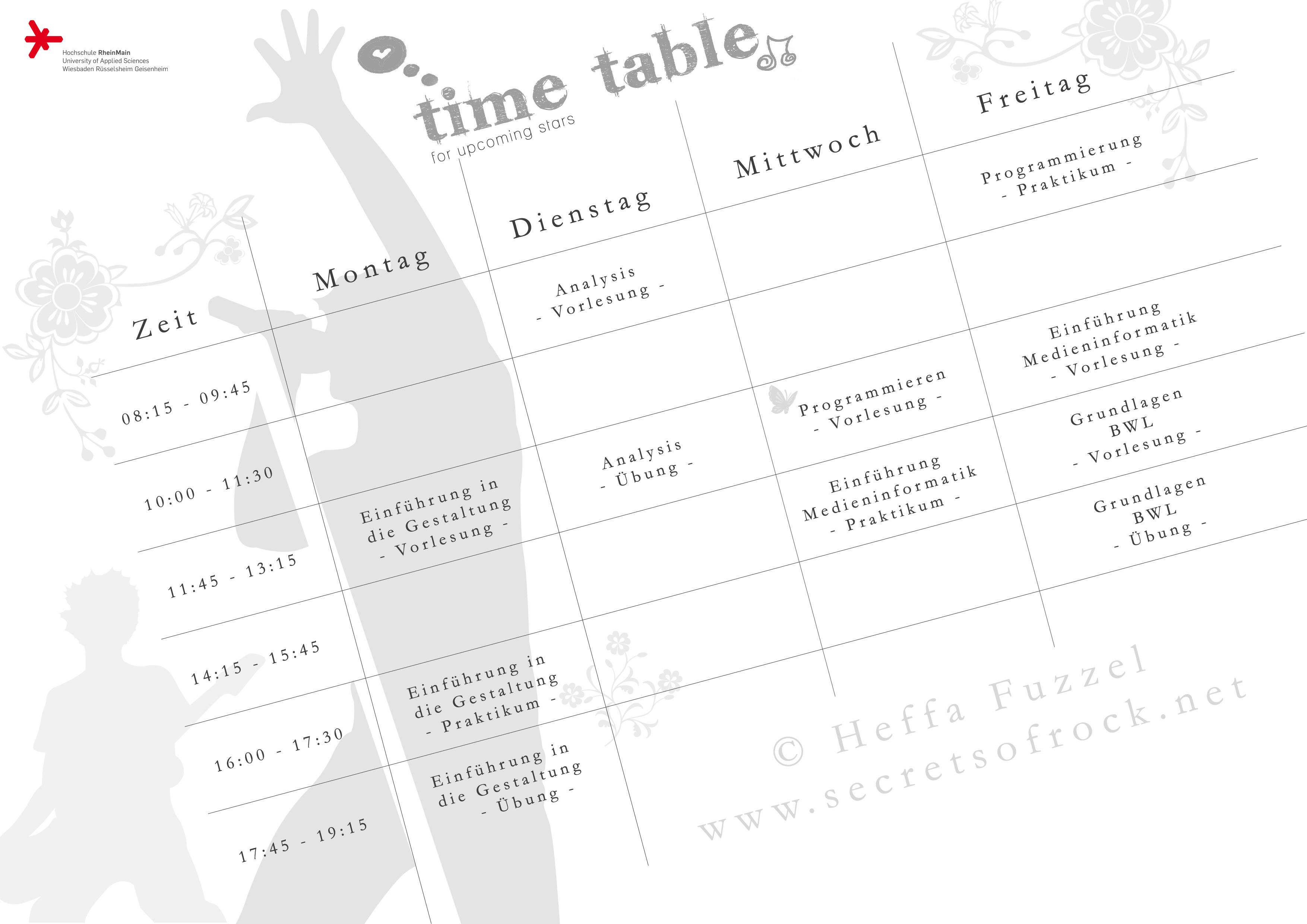 selbst gestalteter Stundenplan Wintersemester 2010/11